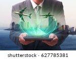 double exposure of success... | Shutterstock . vector #627785381