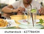 man having glass of fresh... | Shutterstock . vector #627786434