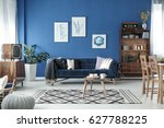 retro style cozy living room... | Shutterstock . vector #627788225