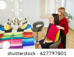 stylist performs personal color ... | Shutterstock . vector #627797801