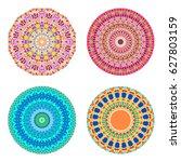 floral emblems  round... | Shutterstock .eps vector #627803159