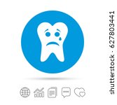 tooth sad face with tear sign...   Shutterstock .eps vector #627803441