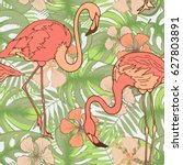 tropical birds  flowers and... | Shutterstock .eps vector #627803891