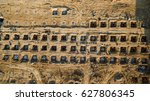 aerial view construction site... | Shutterstock . vector #627806345