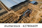 aerial view construction site... | Shutterstock . vector #627806609