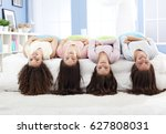 teenagers having fun on slumber ... | Shutterstock . vector #627808031