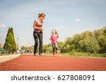 caucasian mother and daughter...   Shutterstock . vector #627808091