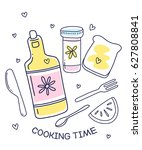vector illustration of cooking... | Shutterstock .eps vector #627808841