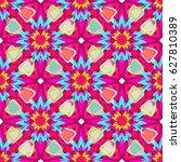 floral kaleidoscope. seamless... | Shutterstock .eps vector #627810389