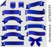 big blue ribbons set gradient... | Shutterstock .eps vector #627820559