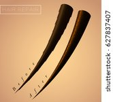 restore split ends of hair.... | Shutterstock .eps vector #627837407