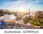 view of barcelone from the park ... | Shutterstock . vector #627849131
