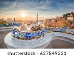 view of barcelone from the park ... | Shutterstock . vector #627849221