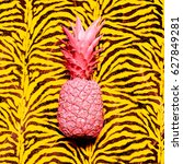 pink pineapple animal print.... | Shutterstock . vector #627849281