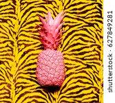pink pineapple animal print.... | Shutterstock . vector #627849281