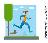 woman running outdoors in park... | Shutterstock .eps vector #627850097