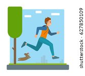 man running outdoors in park... | Shutterstock .eps vector #627850109