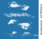 set of realistic clouds on a... | Shutterstock .eps vector #627852611