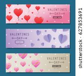 valentines day flyer set... | Shutterstock .eps vector #627853691