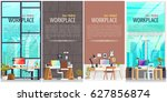 set of office workplace... | Shutterstock .eps vector #627856874