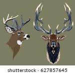 portrait of a noble horned deer ... | Shutterstock .eps vector #627857645