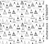 indian wigwams black and white... | Shutterstock .eps vector #627860699