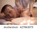 positive young man having a... | Shutterstock . vector #627863075