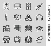 entertainment icons set. set of ... | Shutterstock .eps vector #627863549