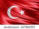 turkey flag of silk 3d... | Shutterstock . vector #627863591