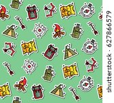 hunting concept icons pattern | Shutterstock .eps vector #627866579