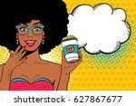 wow pop art female face. sexy... | Shutterstock .eps vector #627867677