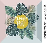 summer hawaiian flyer design... | Shutterstock .eps vector #627870845