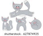 vector set of sketch cat... | Shutterstock .eps vector #627874925