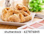 fried chicken and vegetables... | Shutterstock . vector #627876845