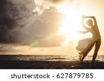 silhouette of an attractive and ... | Shutterstock . vector #627879785