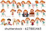 girl in different actions... | Shutterstock .eps vector #627881465
