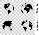 set 3d earth globe on isolated... | Shutterstock .eps vector #627884114