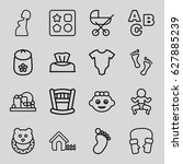 baby icons set. set of 16 baby... | Shutterstock .eps vector #627885239