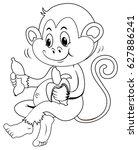 animal outline for monkey... | Shutterstock .eps vector #627886241