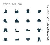 clothes icons set. collection... | Shutterstock .eps vector #627888191