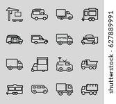 van icons set. set of 16 van... | Shutterstock .eps vector #627889991