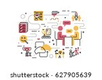 hr   human resource line icons... | Shutterstock .eps vector #627905639