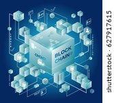 block chain vector illustration ... | Shutterstock .eps vector #627917615