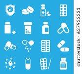 pill icons set. set of 16 pill... | Shutterstock .eps vector #627923231