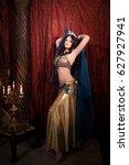 woman dancing belly dance with... | Shutterstock . vector #627927941