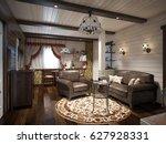 traditional rustic craftsman... | Shutterstock . vector #627928331