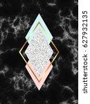 black geometric marble... | Shutterstock .eps vector #627932135