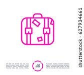 suitcase travel line vector icon | Shutterstock .eps vector #627934661
