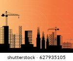 construction site silhouette | Shutterstock .eps vector #627935105