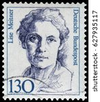 Small photo of Berlin, Germany - 1986: Lise Meitner (1878-1968), Austrian-Swedish physicist of radioactivity and nuclear physics, discovered nuclear fission of uranium. Stamp issued by German Post during 1986-91.